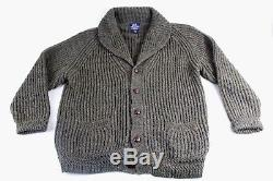 Insane Willis & Geiger Green Chunky Cable Knit Shawl Cardigan Made In Ireland L