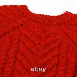 Isabel Marant Cropped Versus Sweater Red Chunky Cable Knit US 4 36