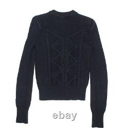 Isabel Marant Dustin Navy Sweater Button Shoulder Cable Knit US 4 36