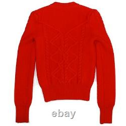 Isabel Marant Dustin Red Sweater Button Shoulder Cable Knit US 4 36