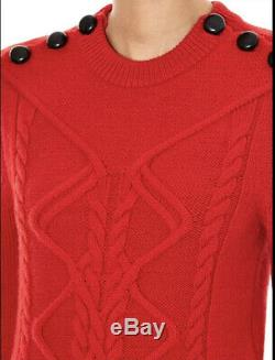 Isabel Marant Dustin Red Virgin Wool Cable-Knit Sweater FR38 New