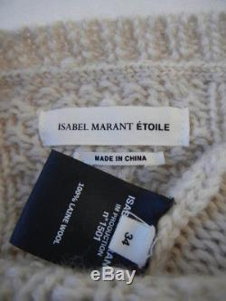 Isabel Marant (Fr. 34) Newlyn Beige/Ecru Chunky Cableknit Pullover Sweater Top