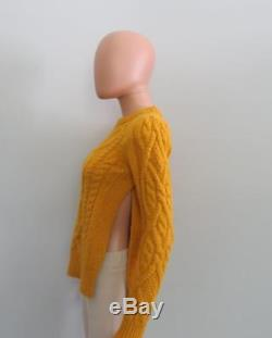 Isabel Marant Yellow Alpaca/Wool Cableknit Open Sides Gayle Sweater Sz 34/0 $785