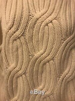 J Crew Collection Women's Cable Knit Ivory Cashmere Sweater Medium