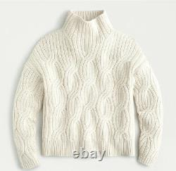J Crew Women's Collection Cashmere Cable Knit Mock Neck Sweater Cream Large NWT