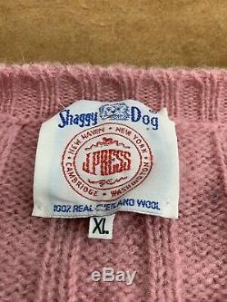 J Press Shaggy Dog Shetland Wool Cable Knit Sweater Mens XL Made In Scotland