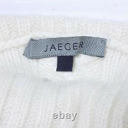 JAEGER 100% Cashmere Jumper Size M Roll Neck White Cable Knit Sweater Aran Pure