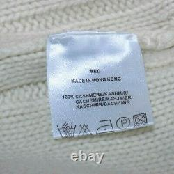 JAEGER 100% Cashmere Jumper Size M Roll Neck White Cable Knit Sweater UK Pure x