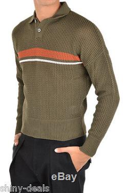 JIL SANDER New Man Green Cable KNit Polo Sweater Jumper Size 48 ita $581 NWT