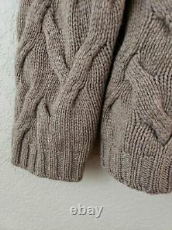 JOHNSTONS 100% CASHMERE Thick Chunky CABLE KNIT SWEATER Sz 40 M L Scotland 1Lb