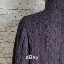 Kiton Men's 4-6 Ply 100% Cashmere Thick Cable Knit Full Zip Sweater L 52 Italy