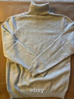 Kiton Napoli Men's 100% Cashmere Beige Cable Knit Pullover Sweater US IT 50