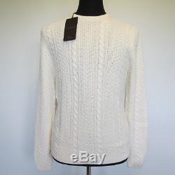 L-3656111 New Gucci Ivory Cable Knit Crew Neck Sweater Size-XXL