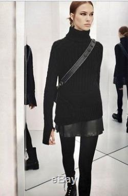 LAST Rare NWT $249 ZARA AW17 BLACK COMBINED 100% CASHMERE CABLE-KNIT SWEATER S M
