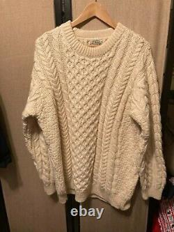 LL BEAN Cable Knit Fishermans Chunky Wool Sweater Size XL Made in Ireland