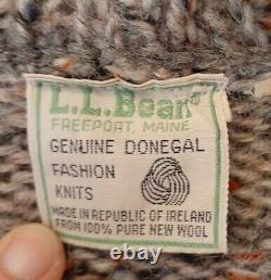 LL Bean Wool Mens Sweater Cable Knit Fishermans Ireland Donegal Tweed Large