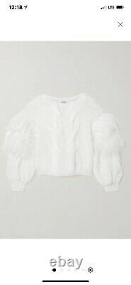 LOEWE Feather-trimmed cable-knit mohair-blend oversize sweater $1250