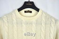 LORO PIANA 100% Baby Cashmere Cable-knit Sweater Cream 52 Large L $2395