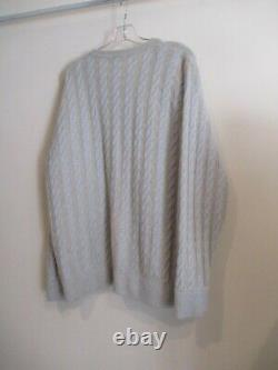 LORO PIANA Italy light blue tan cable knit pullover Soft cashmere sweater sz XL