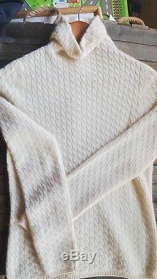LORO PIANA Ivory Creme Cable Knit Baby Cashmere size 44