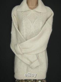Laura Ashley Vintage Cream Cable Knit Chunky Oversized Slouchy Winter Jumper, L