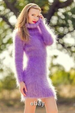 Lavender turtleneck sweater dress fuzzy hand knit fluffy cable tunic SuperTanya