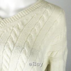 Loewe Sweater Cream Wool Cable Knit V-Neck Womens Small S