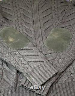 Loro Piana 100% Cashmere Blue Cardigan Thick Cable Knit Sweater M Made In Italy