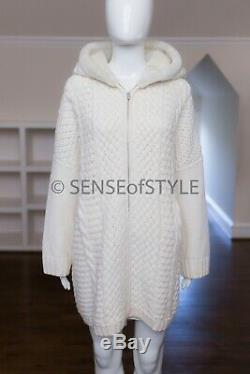 Loro Piana Anuuk Cardigan Sweater Cable Knit With Fur Trim Size M