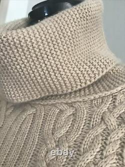 Loro Piana Baby Cashmere Cable Sweater Tunic Camel Size IT42 S M