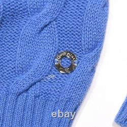 Loro Piana Baby Cashmere Cardigan Sweater Blue Cable Knit Button US 4 42