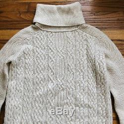 Loro Piana Baby Cashmere Cream Ivory Cable Knit Turtleneck Sweater Tunic Size 40