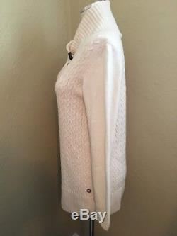 Loro Piana Baby Cashmere Sweater Beige Ribbed Cable Knit Ladies Womens Size 46