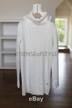 Loro Piana Baby Cashmere Sweater Cable Tunic Long Ivory Size IT42 S M