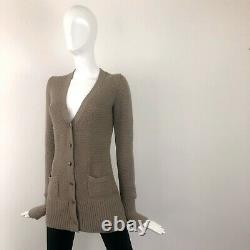 Loro Piana Camel CASHMERE Cable Knit Long Cardigan Sweater Pullover Size IT40 S
