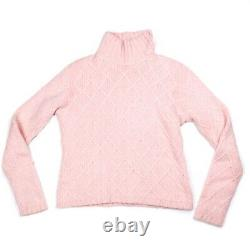 Loro Piana Cashmere Turtleneck Sweater Baby Pink Cable Knit US 4 42
