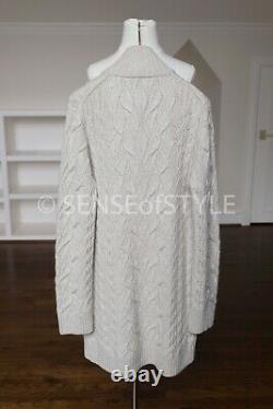 Loro Piana Finsbury Cable Knit Cashmere Cardigan sweater Leather buttons IT40 S