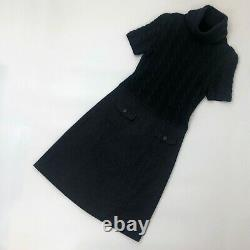 Loro Piana Navy Chunky Cable Knit Slim Jumper Sweater Pullover Dress Size S IT42