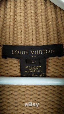 Louis Vuitton cardigan chunky cable knit cashmere wool beige zip L Large
