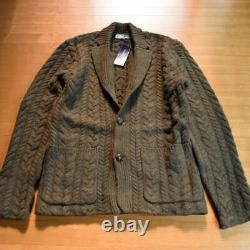 M Mens L Ralph Lauren Cable Knitting Knit Jacket Wool Cashmere Cardigan Sweater