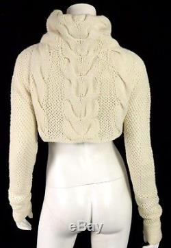MALO Off White Cashmere Draped Neck Cropped Cable Knit Sweater S