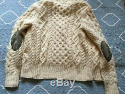 MICHAEL BASTIAN For GANT Ivory Zip Hoodie Wool Chunky Cable Knit SWEATER sz M