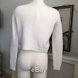 MIU MIU Ivory women's crew neck cropped cable knit sweater, Sz 36, EUC, AUTH