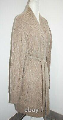 Magaschoni Lush Cable Knit 100% Cashmere Belted Cardigan 34 Long sz S/M $498