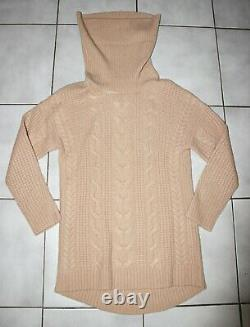 Magaschoni Thick Cable Cashmere Ark Hem Cowl Neck Sweater Cheetah Brown S $398