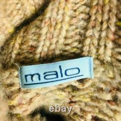 Malo 100% Cashmere Thick Cable Knit Turtleneck Sweater Italy 52 M / L $2200 FLAW