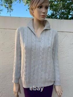 Manrico Made In Italy 100% Cashmere Cable Knit Sweater Sz 42