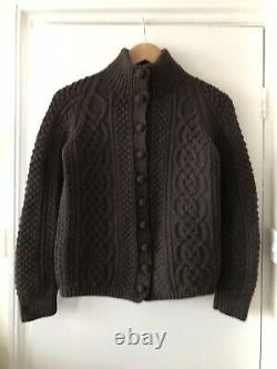 Margaret Howell Brown Lambswool Cable Hand knitted Cardigan Size 12 Rare