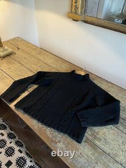 Margaret Howell Cashmere Merino Cable Knit Roll Neck Jumper S Uk10 Rrp£425.00
