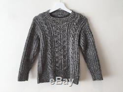 Margaret Howell Womens Grey Chunky Cable Knit Wool Jumper Sweater Size XS UK 8